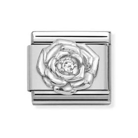 Classic Silver Zirconia Rose Charm