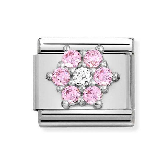Classic Silver Pink CZ Flower Charm