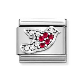 Classic Silver & CZ Red Robin Charm