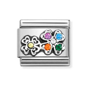 Classic Silver & CZ Colourful Four Leaf Clover Charm