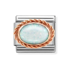 Classic Rose Gold White Opal Charm