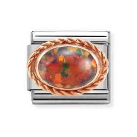 Classic Rose Gold Red Opal Charm