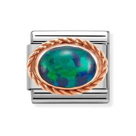 Classic Rose Gold Green Opal Charm