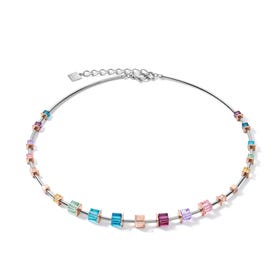 Graduated GEOCUBE Necklace Rose & Pastel Rainbow