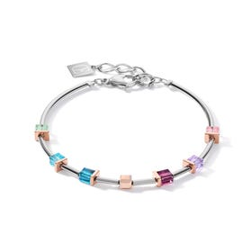 Graduated GEOCUBE Bracelet Rose & Pastel Rainbow