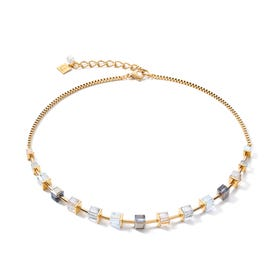 Graduated GEOCUBE Necklace Half Set Gold, White & Grey