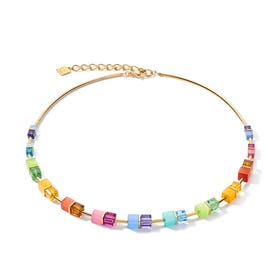 Graduated GEOCUBE Necklace Half Set Gold Fresh Rainbow