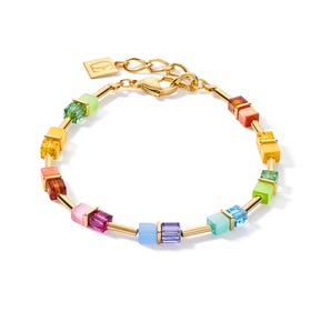 Graduated GEOCUBE Bracelet Gold Fresh Rainbow