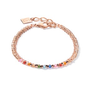 BRILLIANTCOEUR Double Strand Bracelet Rose Gold Multi Coloured