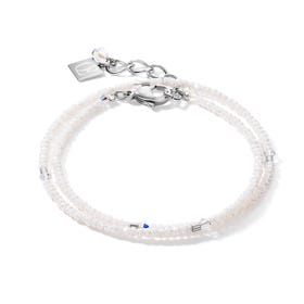 BRILLIANTCOEUR Double Strand Bracelet White Crystal