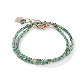BRILLIANTCOEUR Double Strand Bracelet Rose Gold & Green Crystal
