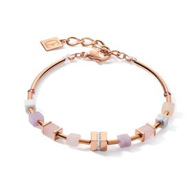 GEOCUBE Bracelet Half Set Rose Gold, Amethyst & Rose Quartz