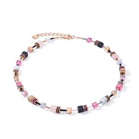 DELUXE GEOCUBE Necklace Onyx, Howlite, Jasper & Rose Quartz