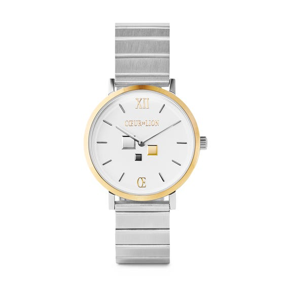 White & Gold Frosted Link Watch
