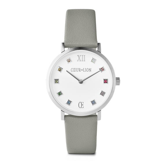 Stainless Steel & Grey Leather Crystal Watch