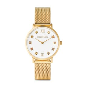 White & Gold Milanese Crystal Watch