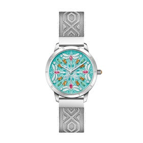 Glam & Soul Turquoise Dragonfly Women's Mesh Watch