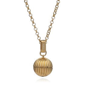 Gold Plated Long Sphere Momento Locket Necklace