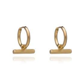 Gold Plated Mini T-Bar Huggie Hoop Earrings