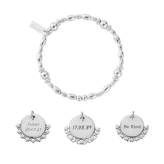 Silver Personalised Multi Rice Bracelet