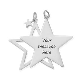 Silver Personalised Double Star Pendant
