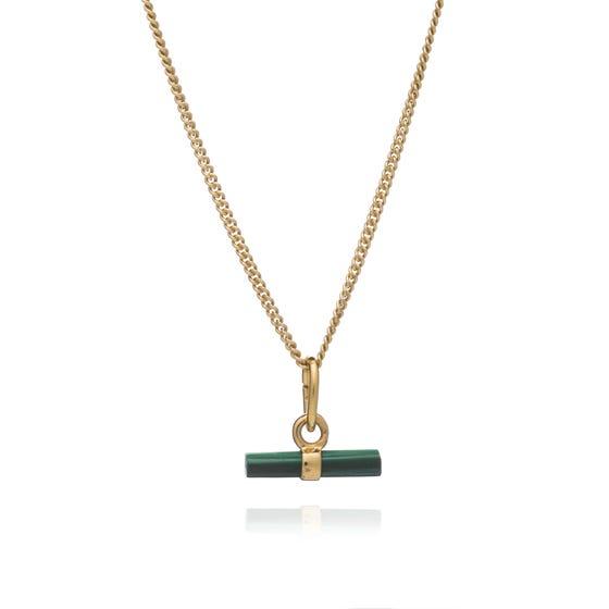Gold Plated Malachite Mini T-Bar Necklace