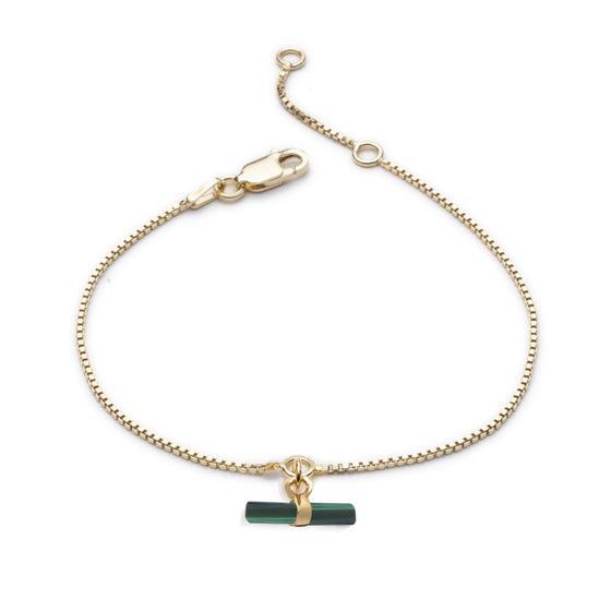 Gold Plated Malachite Mini T-Bar Bracelet