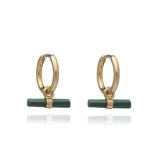 Gold Plated Malachite Mini T-Bar Huggie Hoop Earrings
