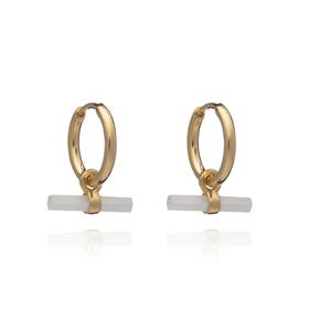 Gold Plated Mother of Pearl Mini T-Bar Huggie Hoop Earrings