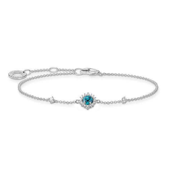 Silver Round Turquoise Bracelet