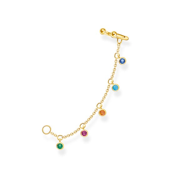 Gold Plated Colourful Stones Chain Ear Cuff