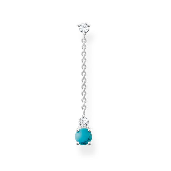 Silver Round Turquoise Single Drop Earring