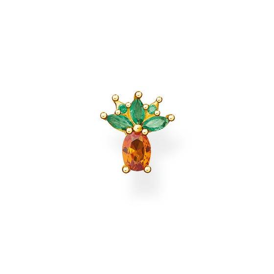 Gold Plated Pineapple Single Ear Stud