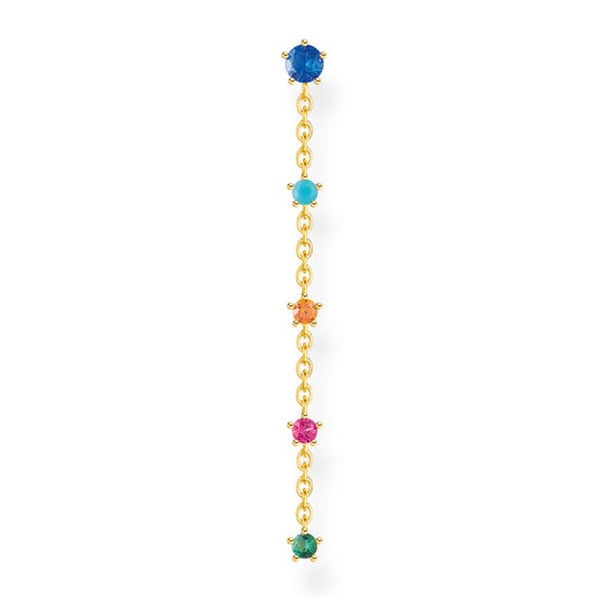 Gold Plated Colourful Stones Single Drop Earring