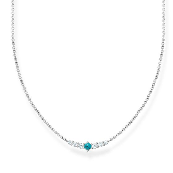 Silver Turquoise Curved Necklace