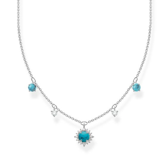 Silver Round Turquoise Drop Necklace