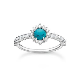 Silver CZ Round Turquoise Ring