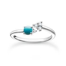 Silver CZ Turquoise Arrow Ring