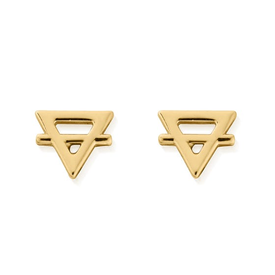 Gold Plated Earth Stud Earrings