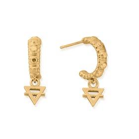 Gold Plated Earth Mini Hoop Earrings