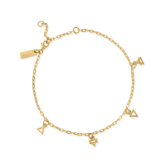 Gold Plated Multi Charm Element Anklet