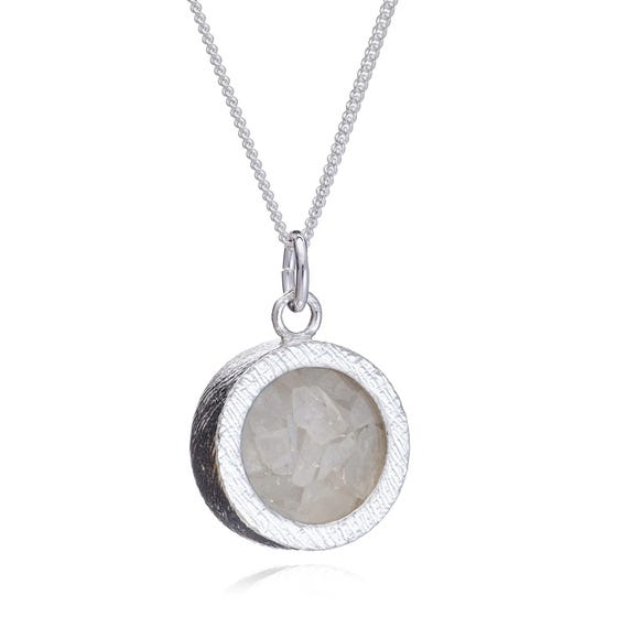 Silver Moonstone June Birthstone Amulet Necklace