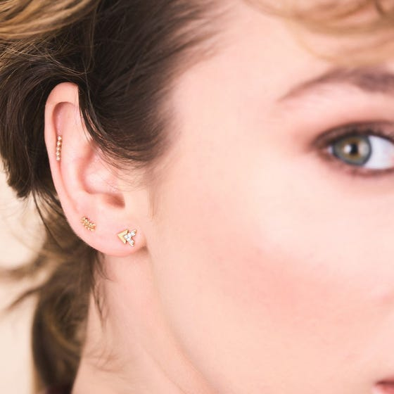 Gold Curved Punk Single Stud Earring
