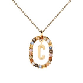Gold Plated Floating Letter C Necklace