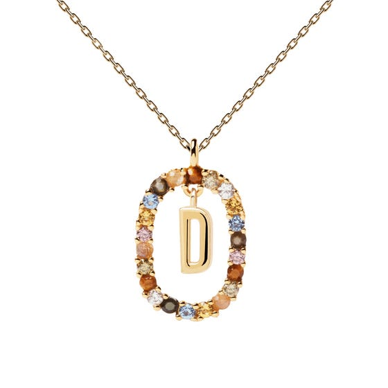 Gold Plated Floating Letter D Necklace