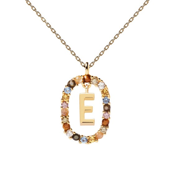 Gold Plated Floating Letter E Necklace