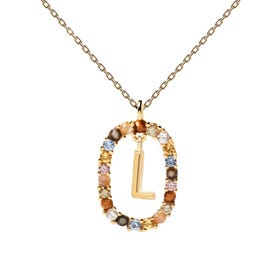 Gold Plated Floating Letter L Necklace