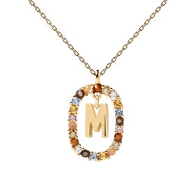 Gold Plated Floating Letter M Necklace