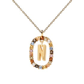 Gold Plated Floating Letter N Necklace