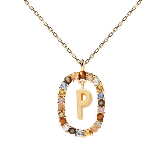 Gold Plated Floating Letter P Necklace